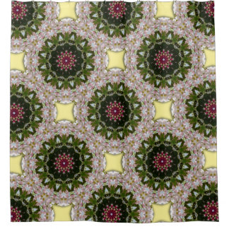 Spring blossoms, Floral mandala-style Shower Curtain