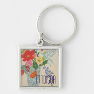 Spring Blossoms II Silver-Colored Square Key Ring
