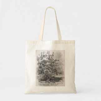 Spring blossoms in black and white tote bag