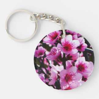 Spring Blossoms Single-Sided Round Acrylic Key Ring
