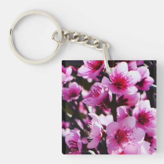 Spring Blossoms Single-Sided Square Acrylic Key Ring