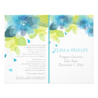 Spring blue flowers floral wedding program 21.5 cm x 28 cm flyer