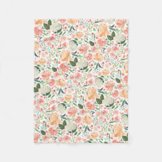 Spring Blush and Peach Watercolor Floral Fleece Blanket