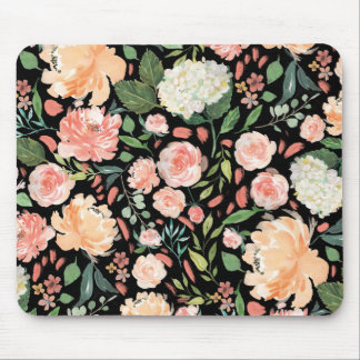 Spring Blush and Peach Watercolor Floral Office Mouse Mat