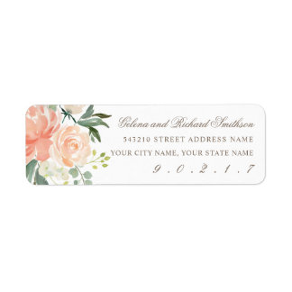 Spring Blush and Peach Watercolor Florals Address Return Address Label