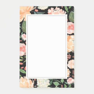 Spring Blush and Peach Watercolor Florals Black Post-it Notes