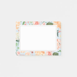 Spring Blush and Peach Watercolor Florals Blue Post-it Notes