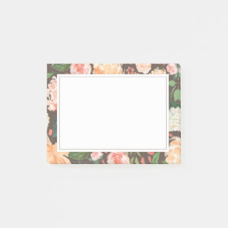 Spring Blush and Peach Watercolor Florals Grey Post-it Notes