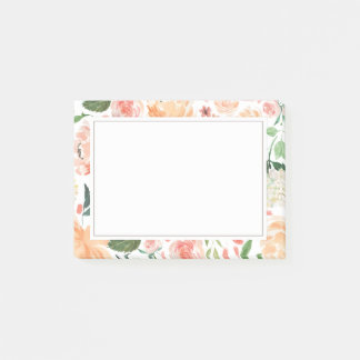 Spring Blush and Peach Watercolor Florals Home Post-it Notes