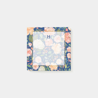 Spring Blush and Peach Watercolor Florals Monogram Post-it Notes