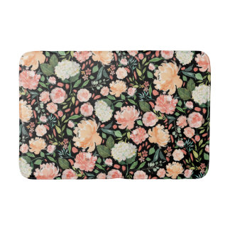 Spring Blush Peach Sage Watercolor Floral Pattern Bath Mat