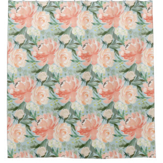Spring Blush Peach Sage Watercolor Large Floral Shower Curtain