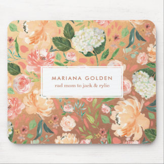 Spring Blush Peach Watercolor Floral Gold Personal Mouse Mat