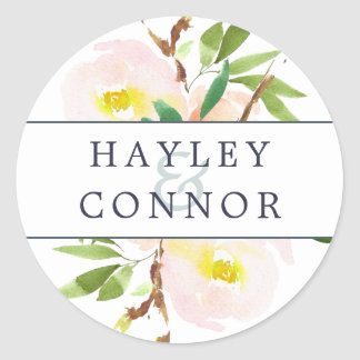 Spring Blush Personalized Wedding Classic Round Sticker