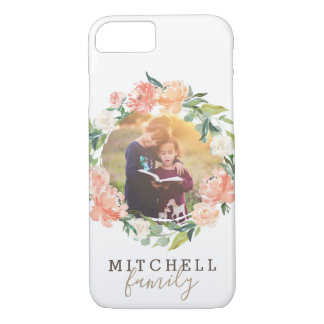 Spring Blush Watercolor Floral Wreath Family Photo iPhone 8/7 Case