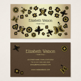 Spring Boho Bohemian Floral Gold Butterfly Ornate Business Card