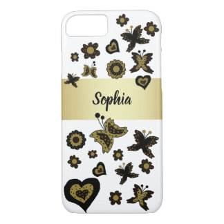Spring Boho Bohemian Floral Gold Butterfly Ornate iPhone 8/7 Case