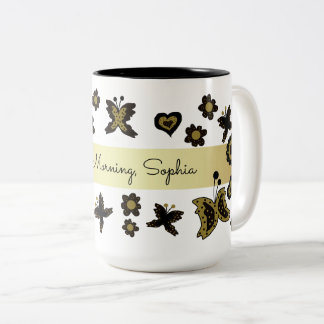 Spring Boho Bohemian Floral Gold Butterfly Ornate Two-Tone Coffee Mug