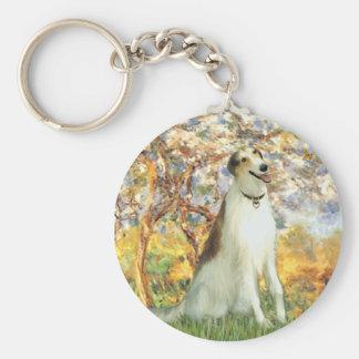 Spring - Borzoi Basic Round Button Key Ring