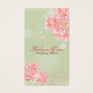 Spring Botanical mint pink peony wedding Business Card