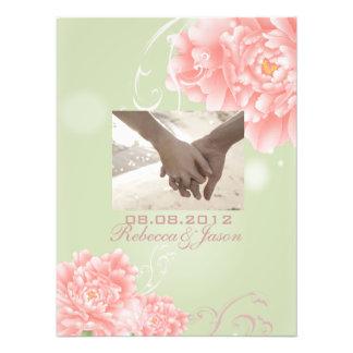 Spring Botanical mint pink peony wedding Photo Art