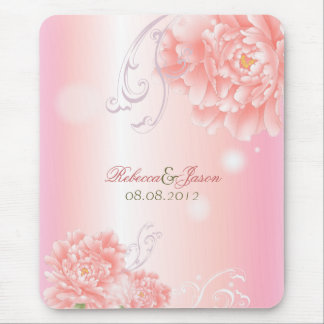 Spring Botanical  pink peony wedding Mouse Pad