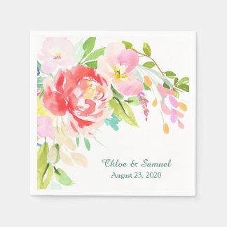 Spring Bouquet Border Wedding Paper Napkin