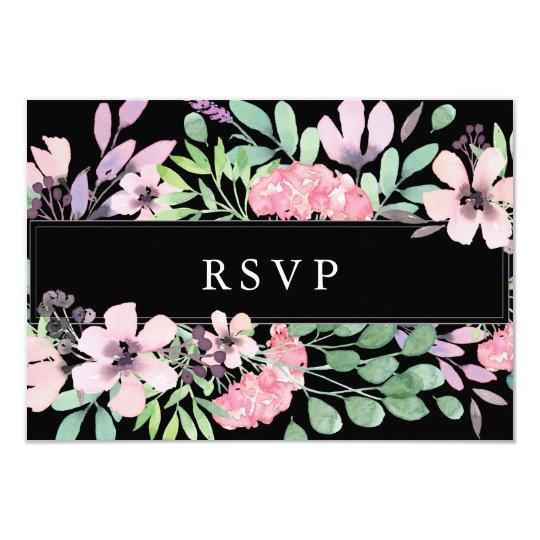 Spring Bouquet | Floral Wedding RSVP Black Card