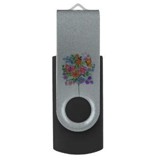 Spring Bouquet Flowers Butterflies Swivel USB 2.0 Flash Drive