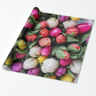 Spring Bouquet of Colorful Tulip Blooms Wrapping Paper