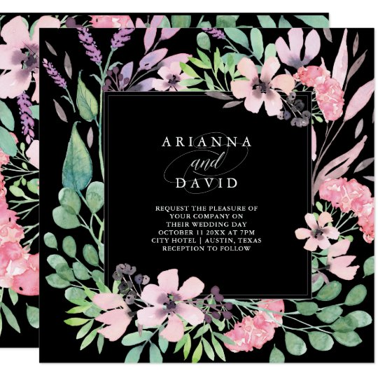 Spring Bouquet | Watercolor Floral Wedding Black Card