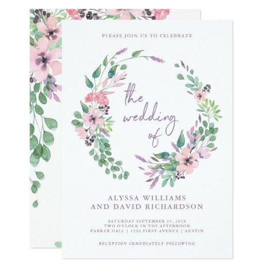 Spring Bouquet   Watercolor Floral Wedding Card