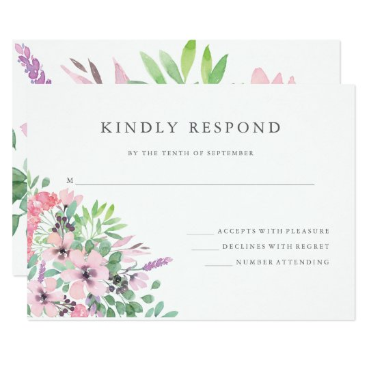 Spring Bouquet | Watercolor Floral Wedding RSVP Card
