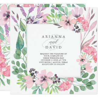 Spring Bouquet | Watercolor Floral Wedding Square Card