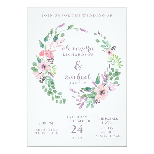 Spring Bouquet Wreath | Watercolor Floral Wedding Card