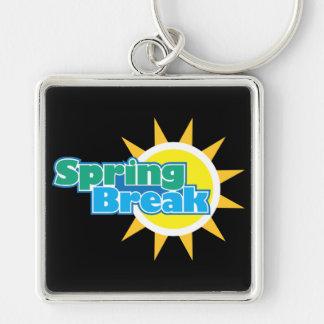 Spring Break & Golden Sun - Silver-Colored Square Key Ring