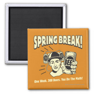 Spring Break: You do the Math Square Magnet