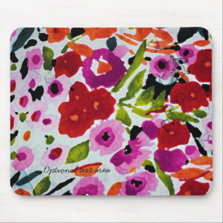 Spring Bright Flowers Floral Elegant Watercolor Mouse Mat