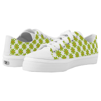 Spring bright olive green flowers printed shoes