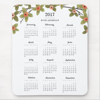 Spring Buds 2017 Calendar Mouse Pad