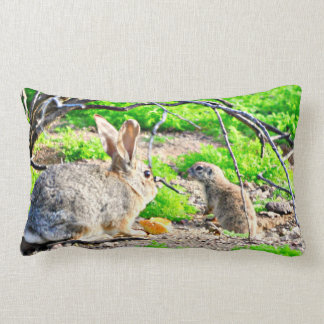 Spring Bunny and Ground Squirrel Throw Pillow