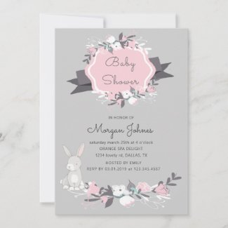 Spring bunny floral blush Baby Shower Invitation
