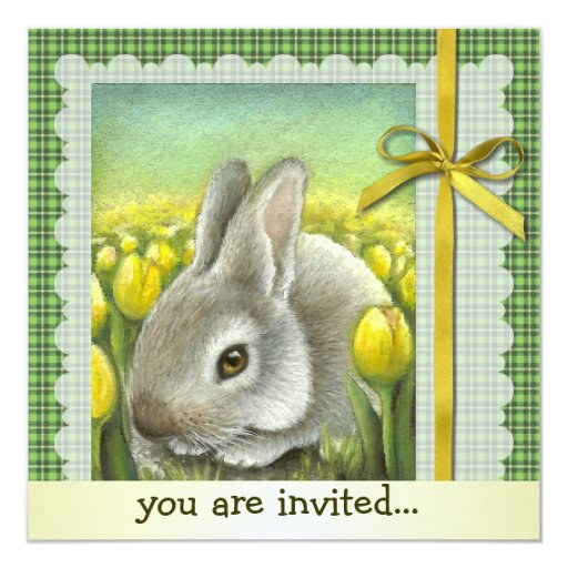 Spring bunny 5.25x5.25 square paper invitation card