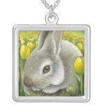 Spring bunny personalized necklace