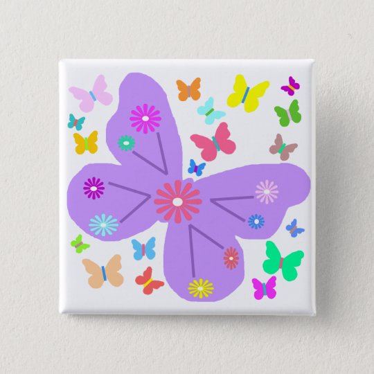 Spring Butterflies button