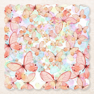 Spring Butterflies Scalloped Square Paper Coaster