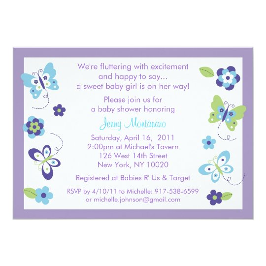 Spring Butterfly Baby Shower Invitations