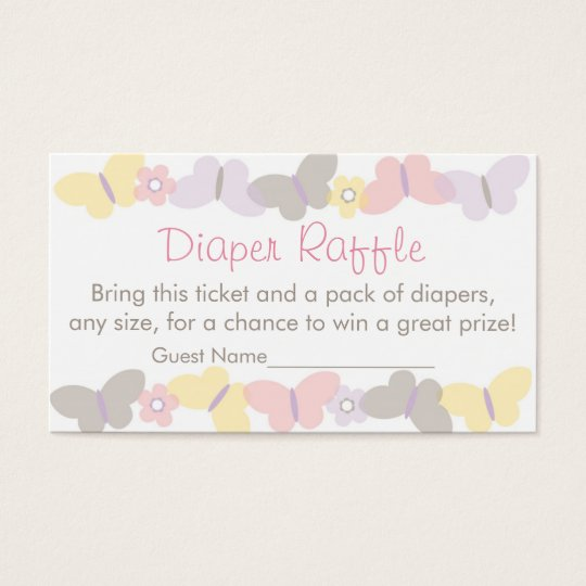 Spring Butterfly Diaper Raffle Tickets