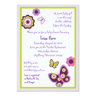 Spring Butterfly Flower Baby Shower Invitations