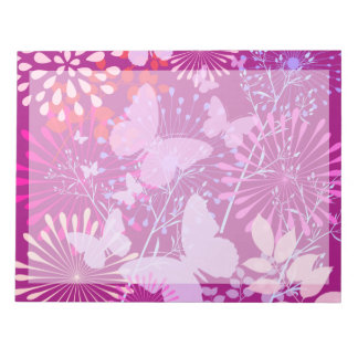 Spring Butterfly Garden Vibrant Purple Pink Girly Notepad